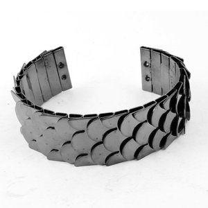 Black fish scaled metalc shape statement bracelet